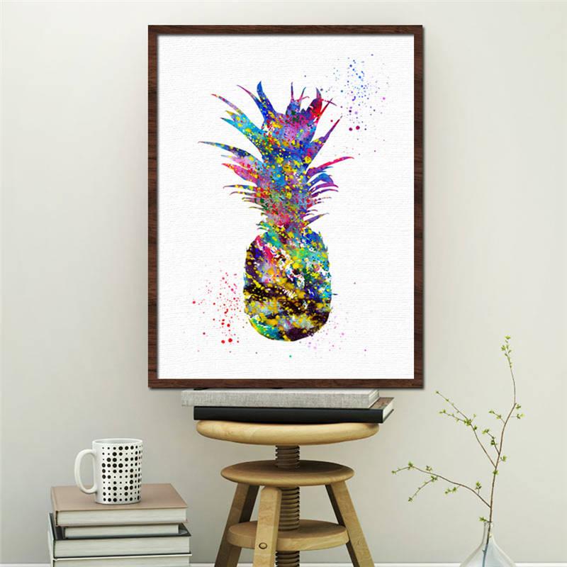 Retro colorido fruta piña sin marco pintura al óleo quadros de parede para sala carteles e impresiones lienzo pintura cartel de pared