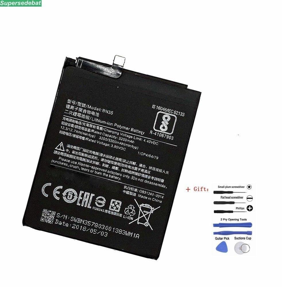 """Nueva batería BN35 Real 3200mAh para Xiaomi Redmi 5 5,7 """"reemplazar el acumulador de batería del teléfono con las baterías del Kit de herramientas de la máquina"""