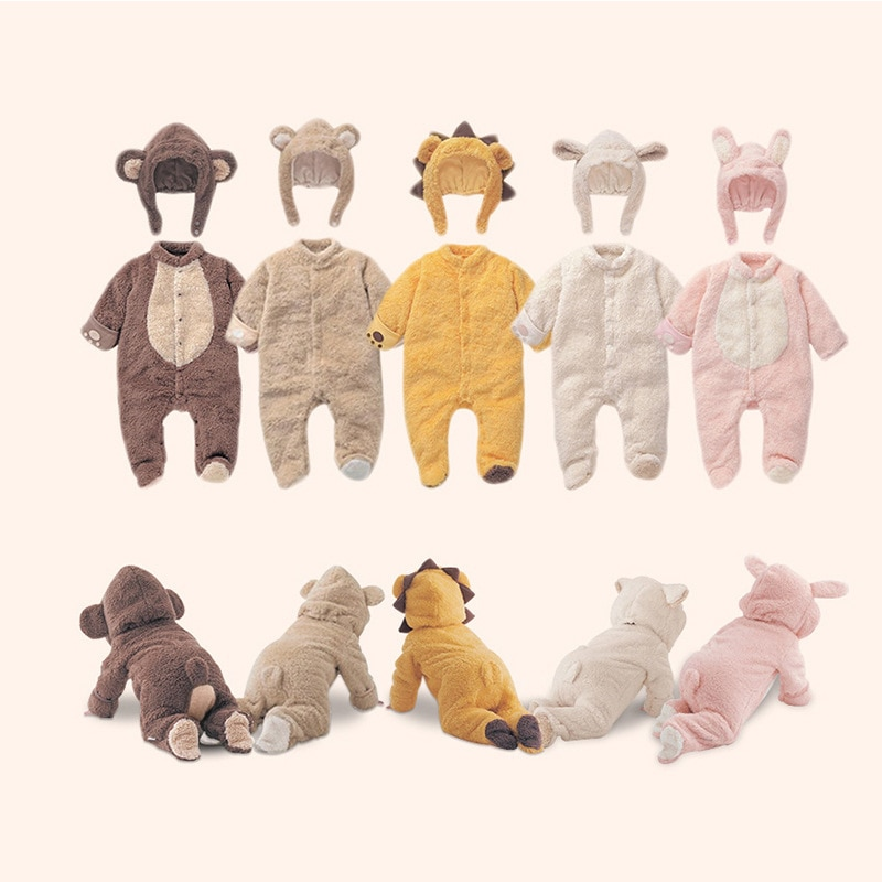 Dibujos Animados bebé mono mameluco niños traje Animal Cosplay formas disfraz niño cálido otoño invierno ropa