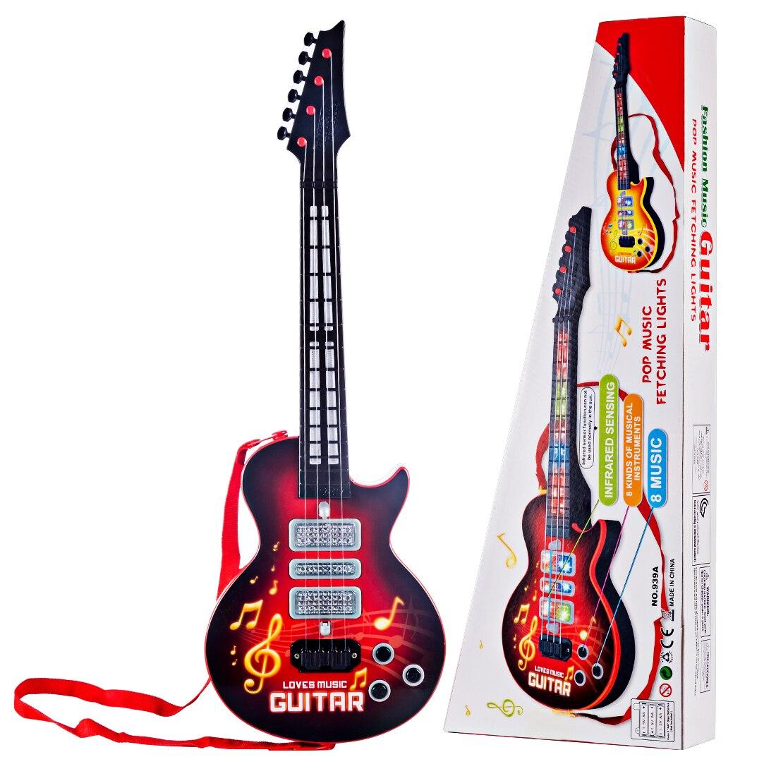 Hiqh recomendar 4 cuerdas de música guitarra eléctrica de juguete instrumentos musicales educativos para niños Juguetes Año nuevo regalo de cumpleaños