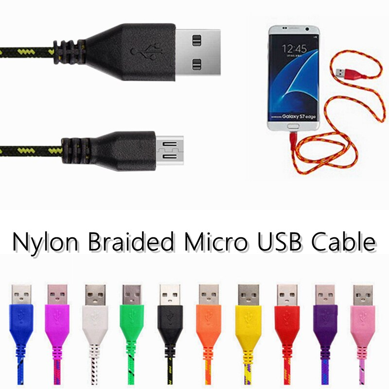 1/2/3 m Nylon tressé Micro USB câble haute vitesse données câbles Android USB 2.0 V8 Micro B MicroUSB câble de charge câble tresse fil