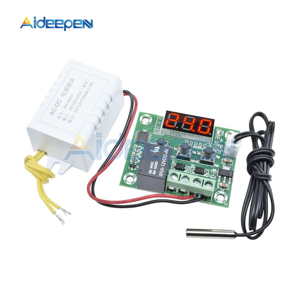 Termostato Digital W1209, CA 110V-220V, controlador de temperatura, termostato de incubación, módulo de fuente de alimentación, pantalla LED roja