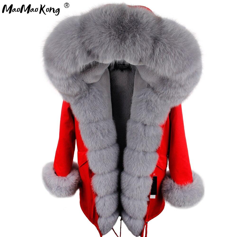 Mao mao kong camuflagem jaqueta de inverno feminino outwear parkas grossas natural real gola de pele de raposa casaco