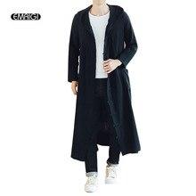 Gabardina larga con capucha informal para hombre, chaqueta de punto con capucha suelta para primavera y otoño, abrigo de abrigo