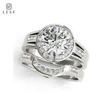 LESF 1,9 CT Zirconia cúbica corte redondo Plata de Ley 925 2 uds anillos conjuntos para mujeres boda compromiso banda joyería clásica regalos