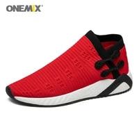 onemix men running shoes weaving breathable light running shoes knitted vamp shoes walking lightweight slip resistan