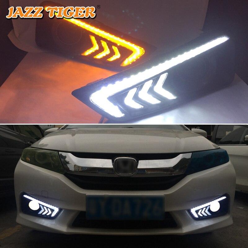 JAZZ TIGER 2PCS Yellow Turn Signal Function 12V Car DRL Lamp LED Daytime Running Light Daylight For Honda Grace City 2015 2016
