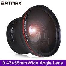 Objectif grand Angle professionnel 58 MM 0.43x Batmax HD (avec partie Macro) pour Canon EOS rebelle 77D T7i T6s T6i T6 T5i T5 T4i T3i SL2 60