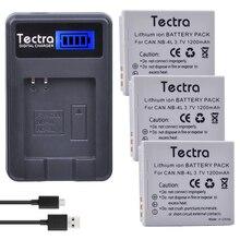 Tectra 3 pièces NB-4L NB4L Bateria + LCD USB Chargeur pour appareil photo Canon PowerShot SD40 SD30 SD200 SD300 SD400 SD450 SD600 SD1400 ELPH 300 HS