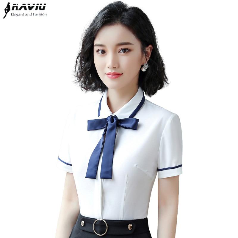 2019 nueva camisa profesional de verano para mujer, blusas ajustadas de gasa con lazo de manga corta, blusas formales de oficina para mujer, tops de talla grande