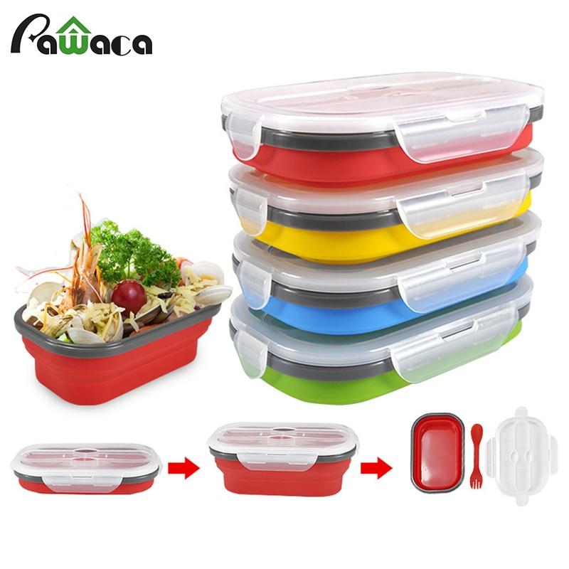 Складные силиконовые контейнеры для хранения еды Bento коробки для фруктов Crisper контейнеры для готовки еды портативный складной Ланч-бокс с вилкой