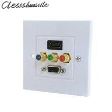 (100 pcs/lot) HDMI & VGA & 3RCA Ypbpr composant AV Audio vidéo mur Face plaque panneau 86mm Type carré