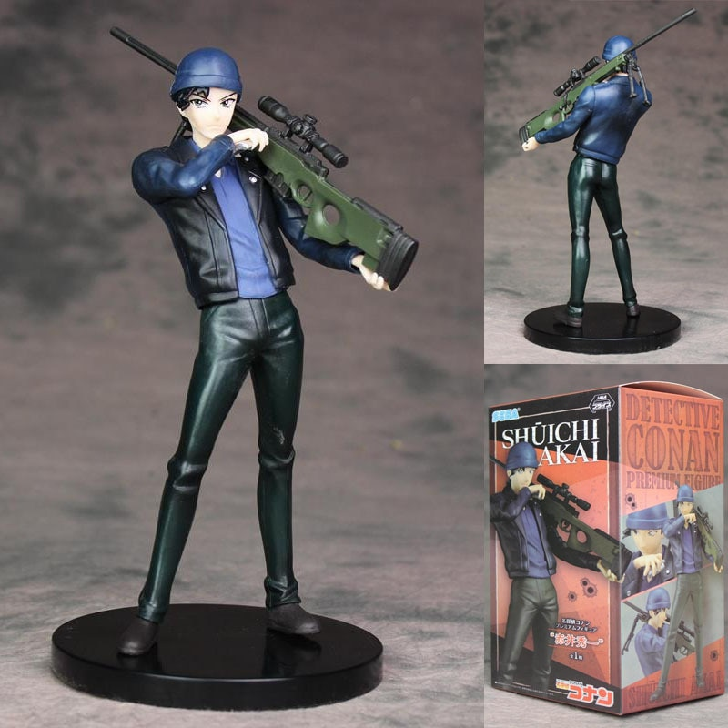 Anime Detective Conan Akai Shuuichi de Rifle de francotirador escenas PVC figura de acción de juguete de modelos coleccionables 22 CM caja de P1496