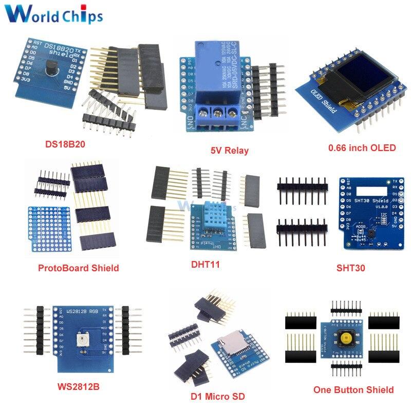 "Kit de bricolaje 0,66 ""botón OLED Micro SD controlador de Motor/TF SHT30 prototipo de placa ESP8266 D1 Mini Pro WiFi desarrollo NodeMcu para WeMos D1"