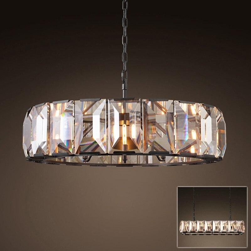 Americano post moderno redondo circular de vidrio de cristal colgante LED lámpara de luz negro de vidrio de metal de la cadena de luz LED de lámpara colgante