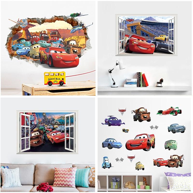 Настенные Стикеры с эффектом 3d, с диснеевскими Тачками, молнией макуин для детской комнаты, домашний декор, Мультяшные настенные наклейки и...