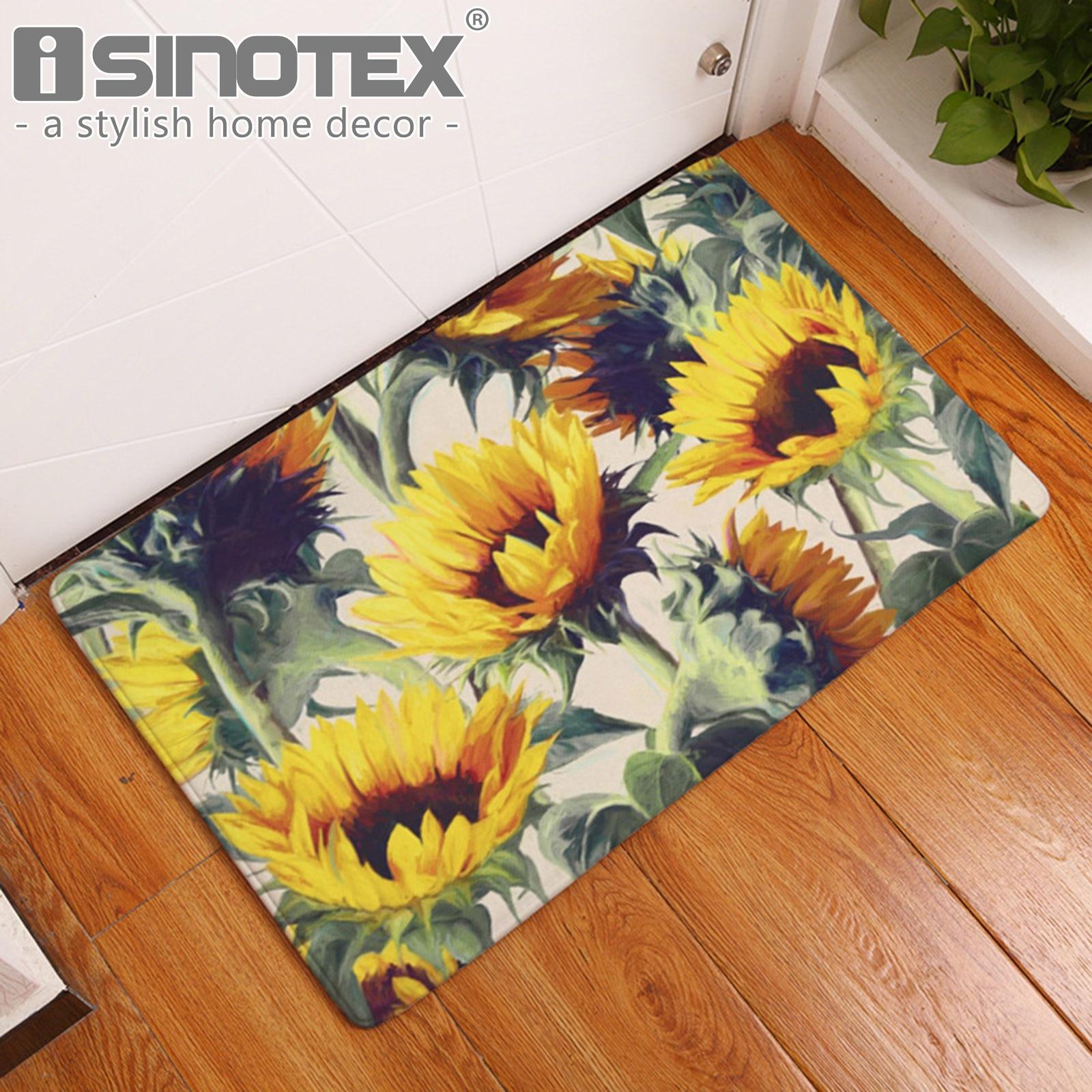 Sunflower Decorative Floor Mat Kitchen Rugs Hallway Home Entrance Door Mats Carpets Anti-Slip Floral Doormats for Living Room