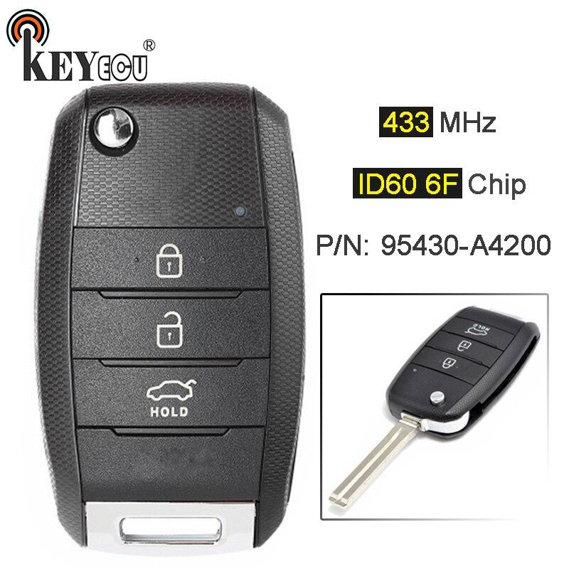 Keyecu 433 mhz id60 6f chip p/n 95430-a4200 atualizado flip dobrável 3 botão remoto carro chave fob para kia carens rondo 2012 +