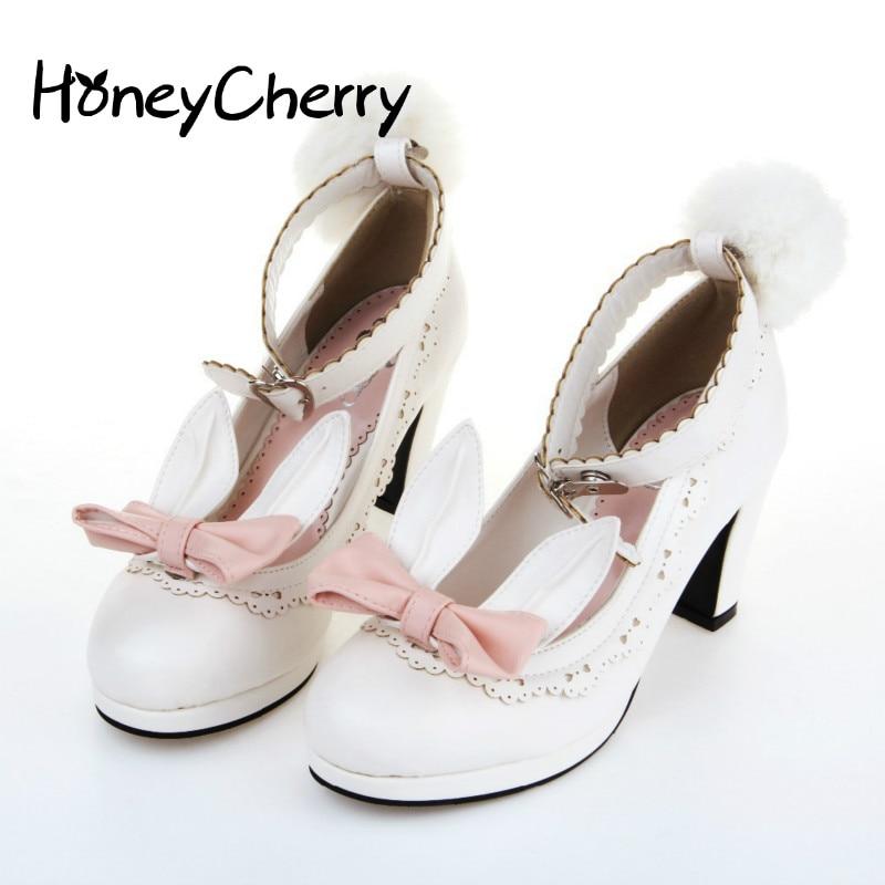 2019 Orejas de conejo zapatos cinta fluffy bombas individual alto tacón Zapatos de estudiante zapatos lolita