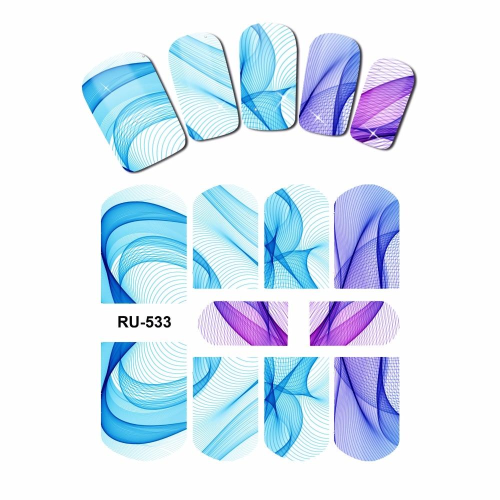 UPRETTEGO NAIL ART pegatina de agua pegatina cubierta completa Arco Iris MULTI colores encaje satinado de seda patrón de malla RU529-534