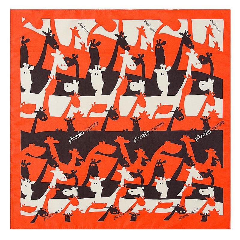 fashion small square 40% natural silk women scarves brand patchwork moon stars woman neck scarf for bags bandana hijab 60 60cm 60cm*60cm 2021 New Fashion Cartoon Giraffe Print Women Luxury Brand Twill Silk Scarf Small Square Scarves Hijab Headband