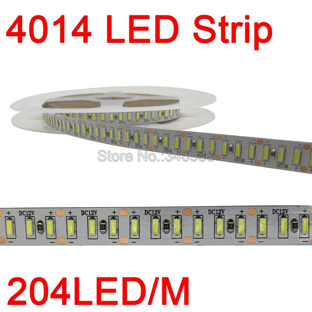 5m super brilhante 4014 conduziu a luz de tira 204 leds/m dc 12v fita conduzida flexível branco/fita branca morna ip20 ip65 à prova dwaterproof água