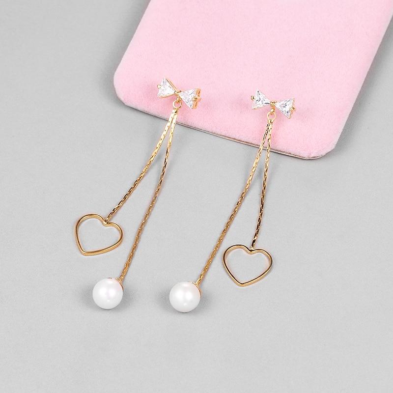 WEIMANJINGDIAN Exquisite Cubic Zirconia Bow and Heart Dangle Earrings for Women