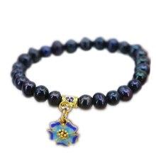 Vintage bransoletki i Bangles dla kobiet 7-8mm naturalne słodkowodne perły koraliki lina splotkowa bransoletki prezenty Diy biżuteria 7.5 cala B3142