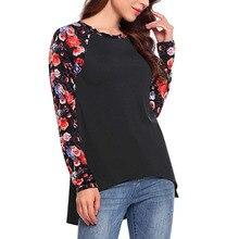 2019 ropa de mujer camiseta Casual raglán manga larga cuello redondo Floral Patchwork ahueca hacia atrás Hem camiseta diaria Joker tops L5