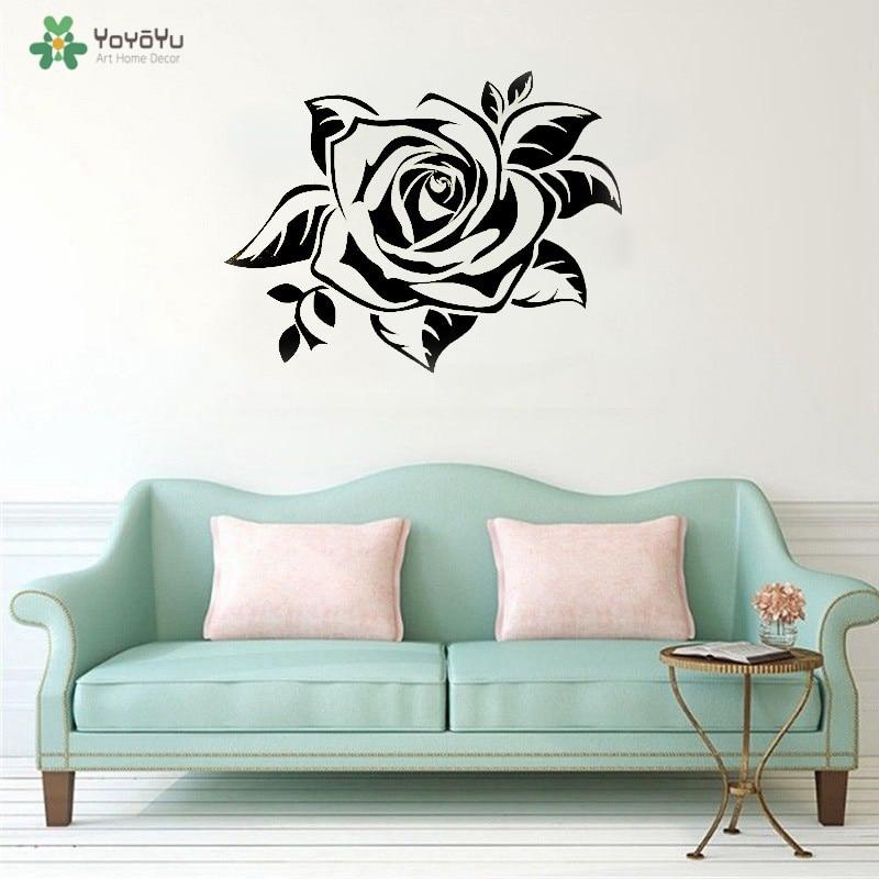 YOYOYU Wall Decal Rose Flower Wall Stickers Florist Mall Decoration Rose Popular And Beautiful Flower Vinyl Art Decor QQ163