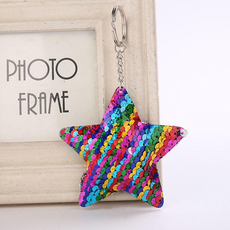 Llavero con forma de estrella con brillo y lentejuelas, llavero con relleno suave, llavero, llavero con soporte para llaves, bolsos de coche, colgante, accesorios de moda, regalo ornamental