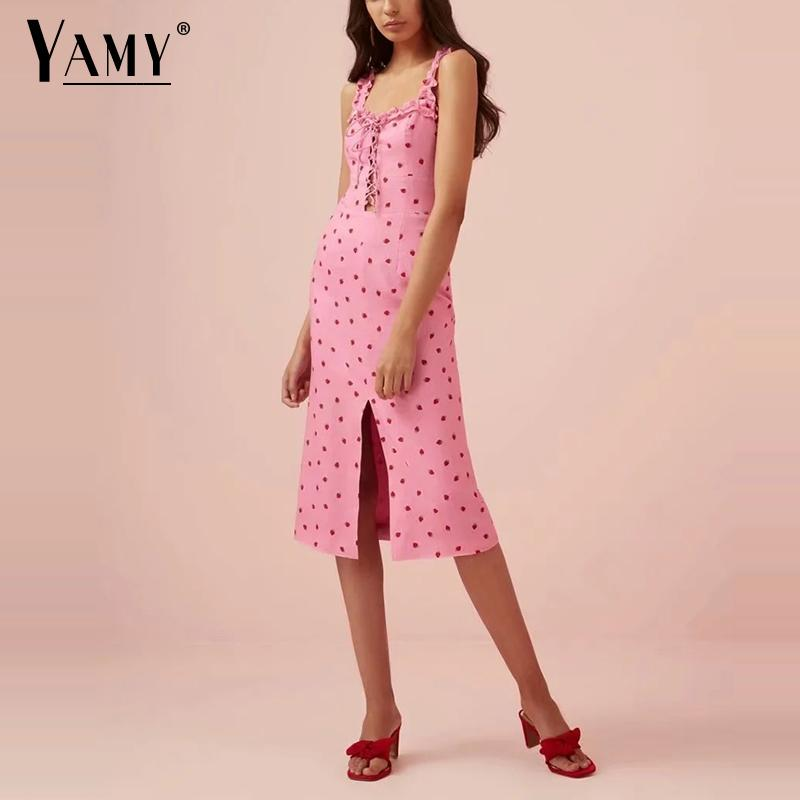 Vestido de verano bohemio 2019 estilo Kawaii, vestido ajustado elegante con dibujo de fresa para mujer, vestido sexy elegante de playa, ropa de moda coreana
