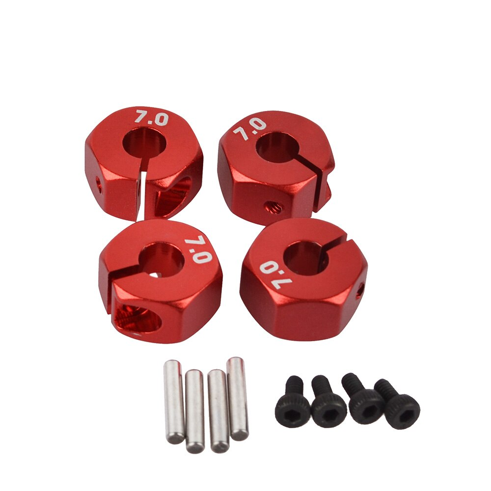 Aluminio RC 5mm/6mm/7mm de espesor de rueda hexagonal 12mm de unidad con pines y amp para tornillos HSP HPI Tamiya 110 RC llantas de coche