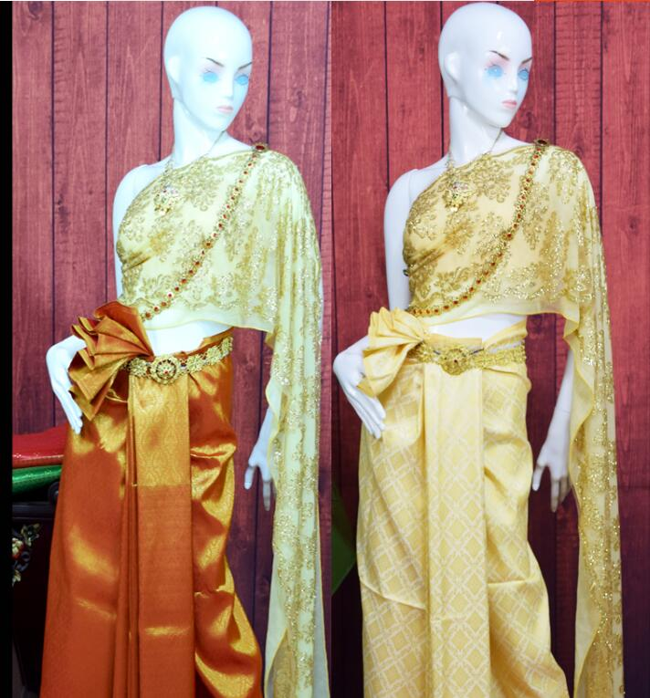 Exquisito lujo Tailandia ropa tradicional oro Tailandia uniformes de recepcionista danza de Tailandia desgaste vestido