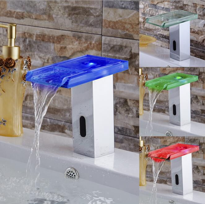 Torneira-صنبور حوض led مع مستشعر رقمي بدون تلامس ، صنبور حوض أوتوماتيكي ، صنبور حمام