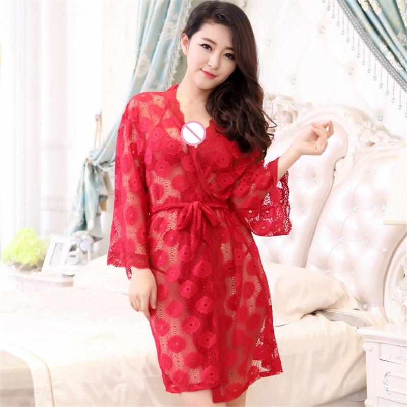 Plus Size M-XL 2018 Summer Ladies Sexy Hollow Lingerie Lace Net Yarn Erotic Transparent Belt Slim Sleepwear Slips Set 5 Color