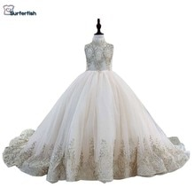 Surferfish Childrens girls princess wedding dress girl Beaded sleeveless evening dress gold Sequins Ball Valentines Day Dress