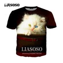 LIASOSO nuevo estilo Harajuku Pullover Tees MenWomen Casual camiseta Animal mascota gato travieso 3D imprimir camiseta Tops marca ropa A076