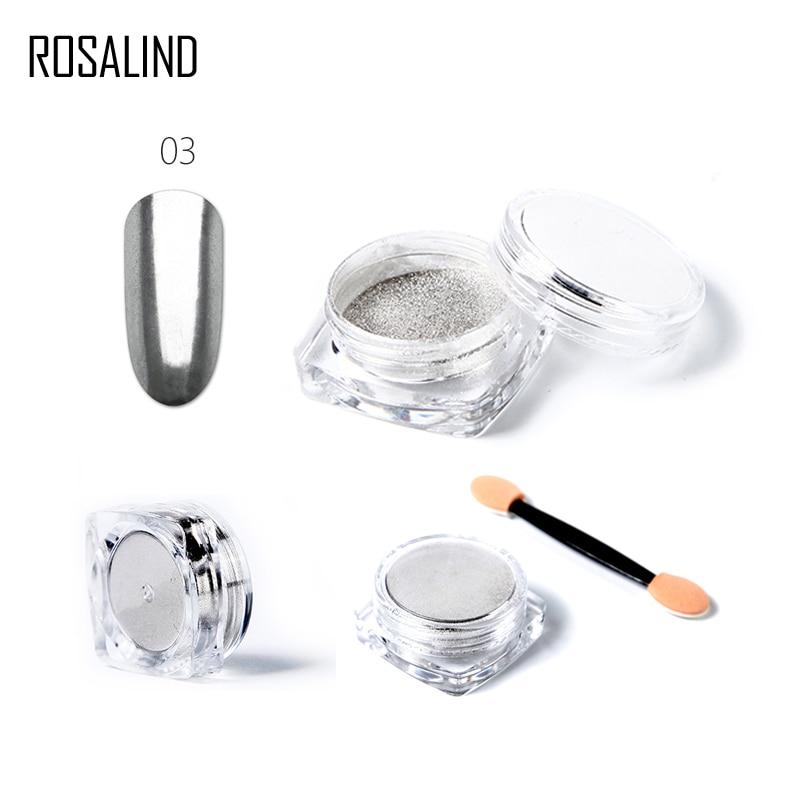 ROSALIND 5 Colors Nail Glitter Aluminum Flakes Magic Mirror Effect Powders Sequins Nail Gel Polish Chrome Pigment Decorations