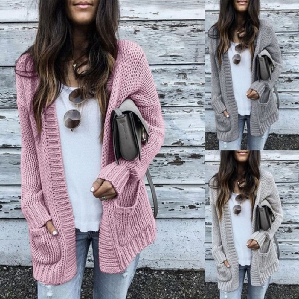 Outono inverno batwing manga longa malhas cardigan feminino suave camisola de malha bolso design cardigan feminino jumper casaco rosa