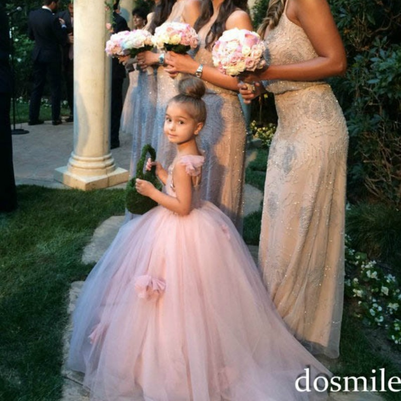 New 2018 Children Clothing Sequins Lace Sleeveless Dress Nude Pink Flower Formal Pageant Show Girls Fluffy Wedding Dress GDR387 enlarge