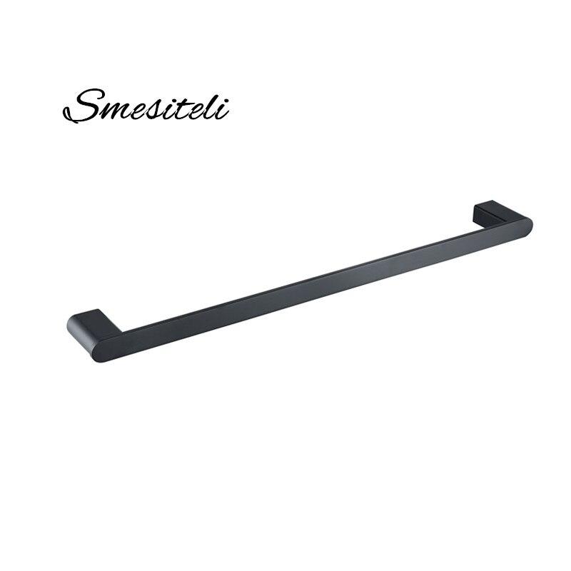 "New Bathroom Accessories 24"" Matt Black Rail Towel Bars Hardware Single Bar 304 Stainless Steel Wall Mount Matte Holder Rack"