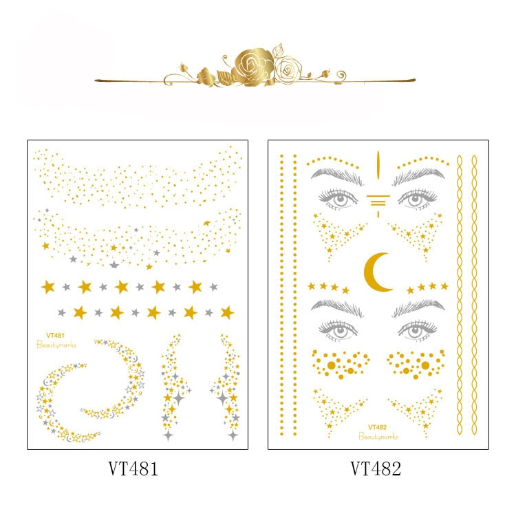 Glitter gold bronzing sticker for face makeup mixed size star moon shape gold silver instant Freckles temporary tattoo RA015