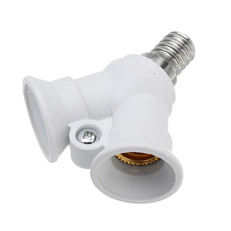 CLAITE E14 a 2 E14 soporte portalámparas convertidor divisor de adaptador de enchufe convertidor enchufe para AC100-230V de luz del hogar