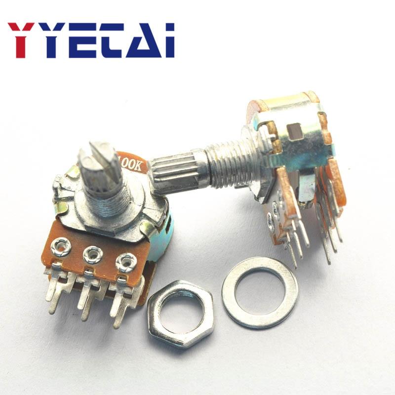 YongYeTai Double WH148 Type 100K Potentiometer B100K Handle Length 15MM free shipping