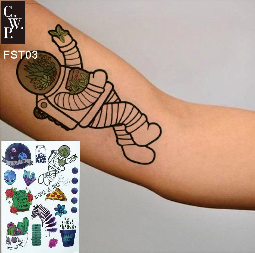 FST03 1 шт. временная татуировка космонавта с цитатами водостойкие татуировки для