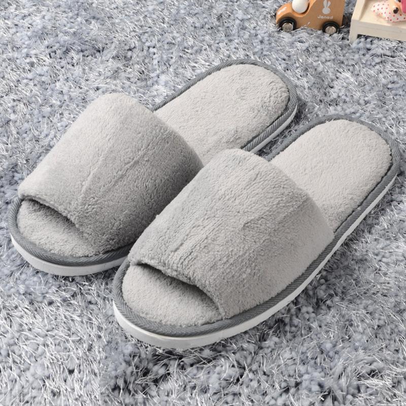 Womens & men aberto dedo do pé chinelos de inverno quente chinelos de pelúcia feminino slides interior quarto sapatos casuais #20