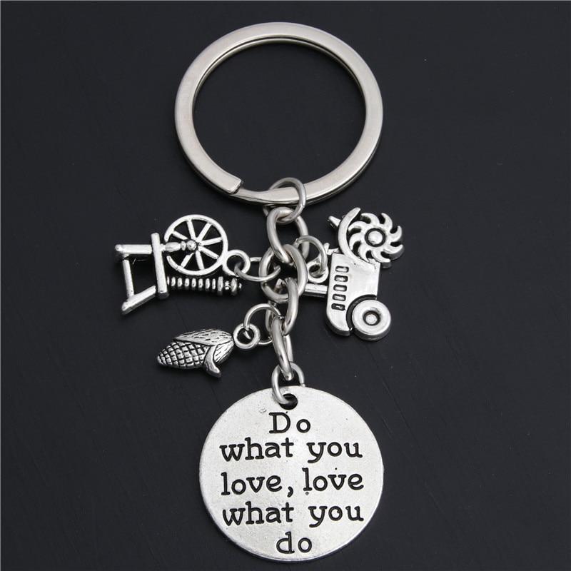 1 ud., llavero de granjero, regalo, equipo agrícola de niña, llavero de Tractor, mazorca de maíz, haz lo que te guste, joyería E2048