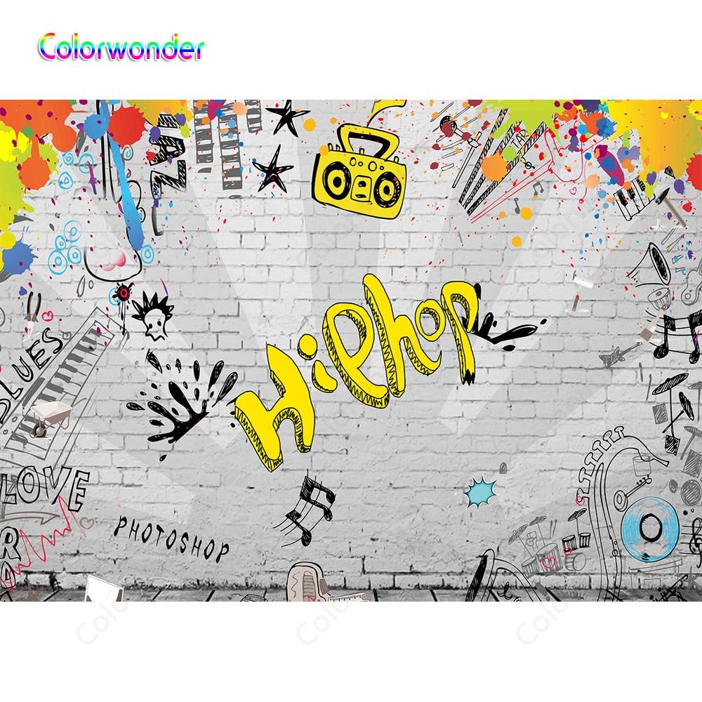 Dibujos Animados Hiphop 80 tema Fiesta fondos para Photoshop pared de ladrillo gris con fondos de pintura colorida para cabina de fotos