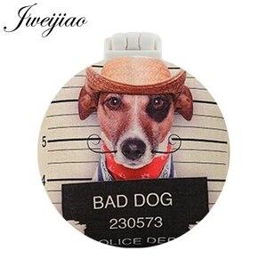 JWEIJIAO BAD DOG Art Фото УФ напечатанное карманное зеркало с массажной расческой мини круглый складной компактный портативный макияж туалетное зеркало
